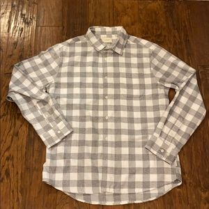 7 Diamonds Soft Flannel Shirt gray white button